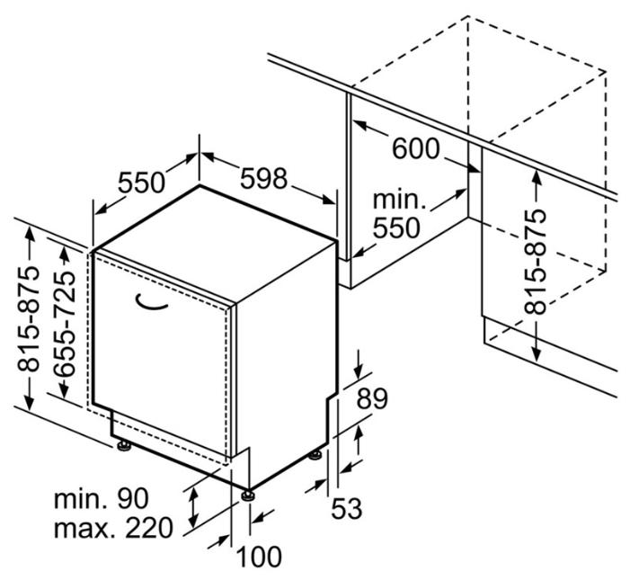 Размеры стандартной посудомоечной машины для встраивания в кухонный гарнитур под столешницу