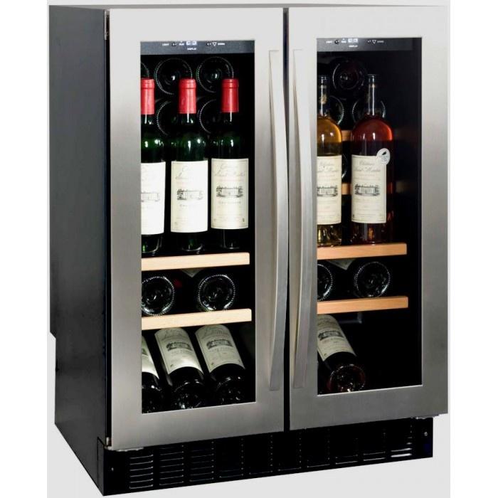 Винный шкаф с двумя отделениями и возможностью поддержания двух температурных режимов
