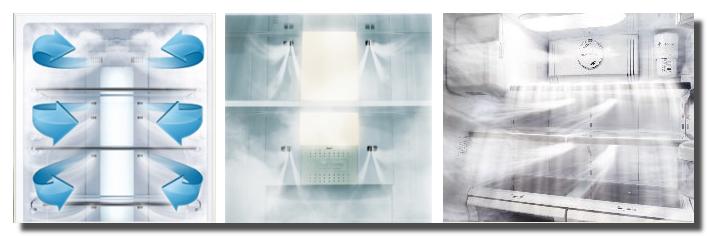 В холодильниках компании Аско предусмотрена функция равномерной подачи воздуха к каждой полке