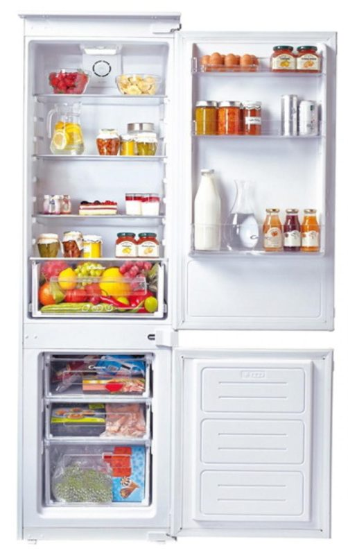 Пример правильного расположения продуктов в холодильниках компании Канди стандартной конфигурации