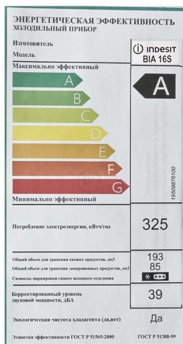 Наклейка на холодильник компании Индезит с основными техническими характеристиками данной модели