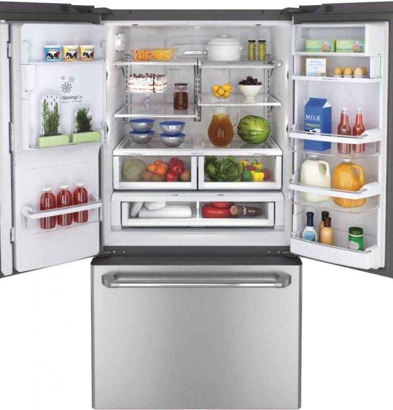 Тип французского холодильника с двухдверной камерой вверху модели и большой выдвижной морозилкой