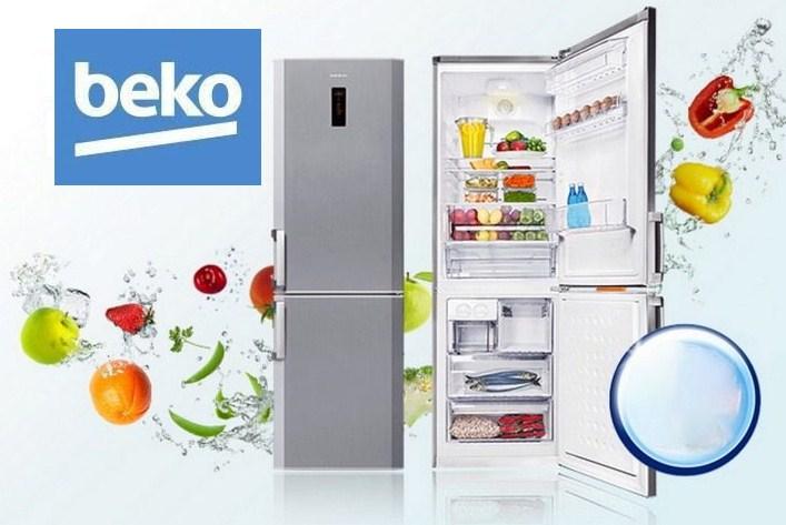 Пример стильной модели холодильника Беко с нижней морозилкой и отделениями с зоной свежести
