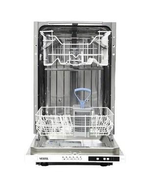 Узкая посудомоечная машина Вестел VDWBI 4522 с двумя вместительными лотками в бункере и аксессуарами