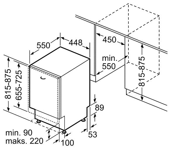 Размеры узкой посудомоечной машины Bosch SPV 53M 20RU для встраивания в кухонный гарнитур