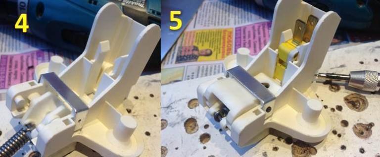Ремонт и обратная сборка блокировочного замка дверцы посудомоечной машины для установки на место
