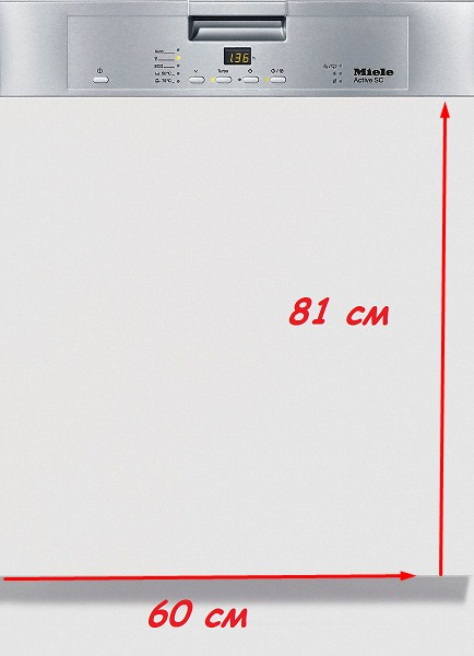 Высота стандартных столешниц обычно совпадает с высотой посудомоечной машины