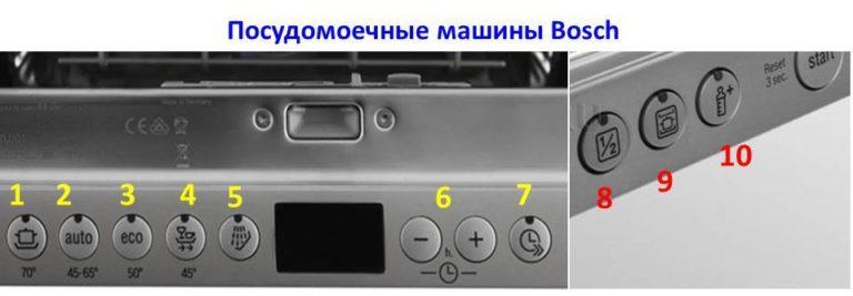 Кнопки управления посудомоечной машиной Бош