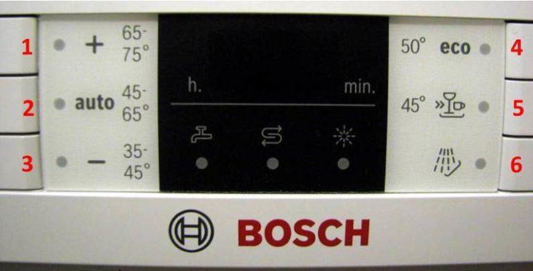 На экране ПММ Бош индикаторы обычно расположены максимально информативно