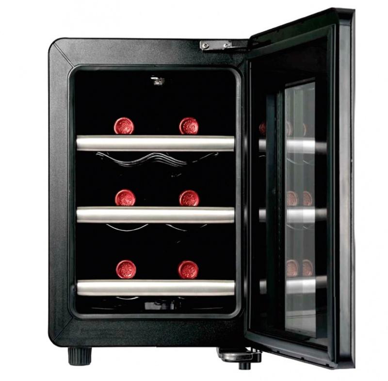 Бытовой охладительный шкаф для вин с удобными полками под бутылки для быстрого охлаждения напитка