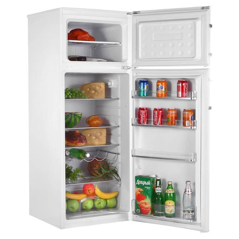 Модель небольшого двухкамерного холодильника Канди CCDS 5140 WH7 с верхней морозилкой без ящиков