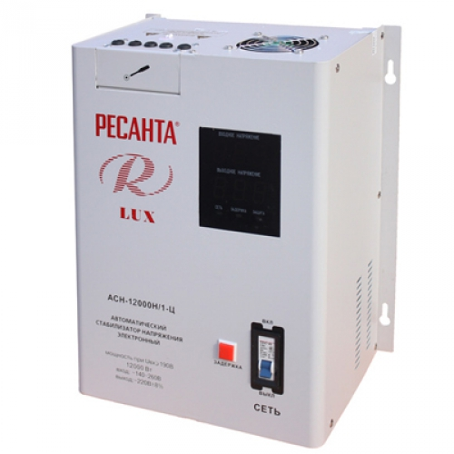 Стабилизатор однофазный Ресанта АСН 12000 Н/1-Ц Lux отечественного производства для подключения посудомойки