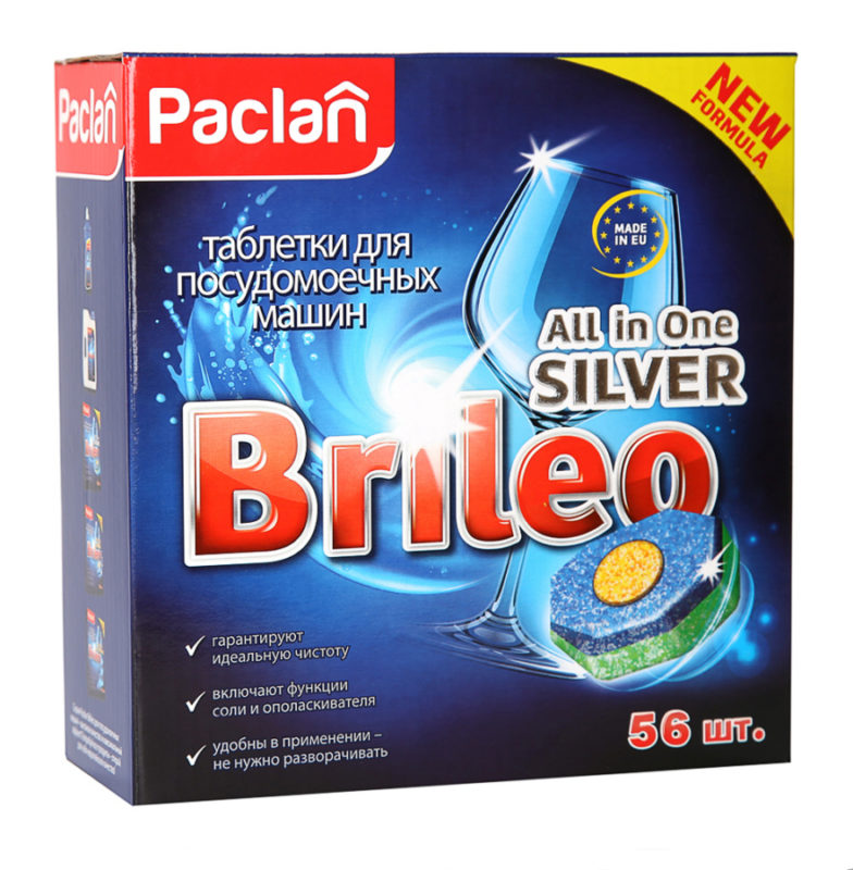 Таблетки Paclan Brileo с эзимами и кислородным отбеливателем эффективно расщепляют изнутри засохшие частицы