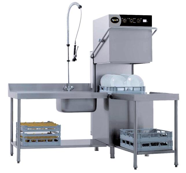 Купольная модель Apach АС 800 DD может мыть разнообразную посуду
