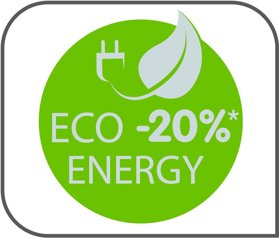 Значок в виде зеленого круга с надписью гарантирует снижение потребления энергии на 20%