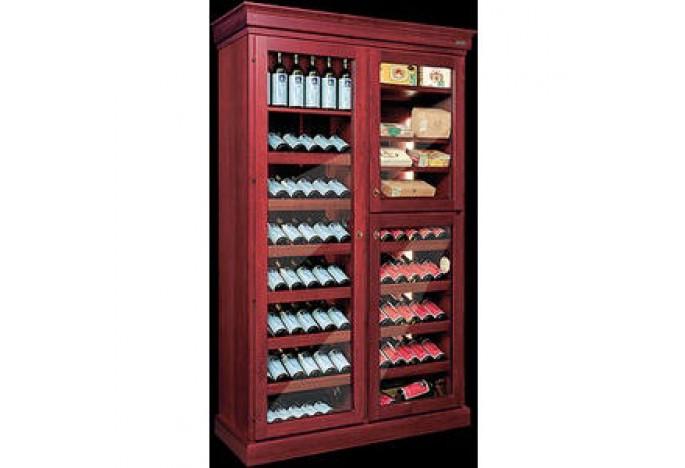 Большой винный шкаф с тремя отделениями и строенной системой охлаждения в стиле старинной мебели