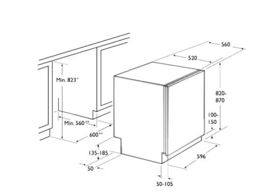 Габариты полноразмерной посудомоечной машины Asko D 5554 XL FI для встраивания в кухонный гарнитур