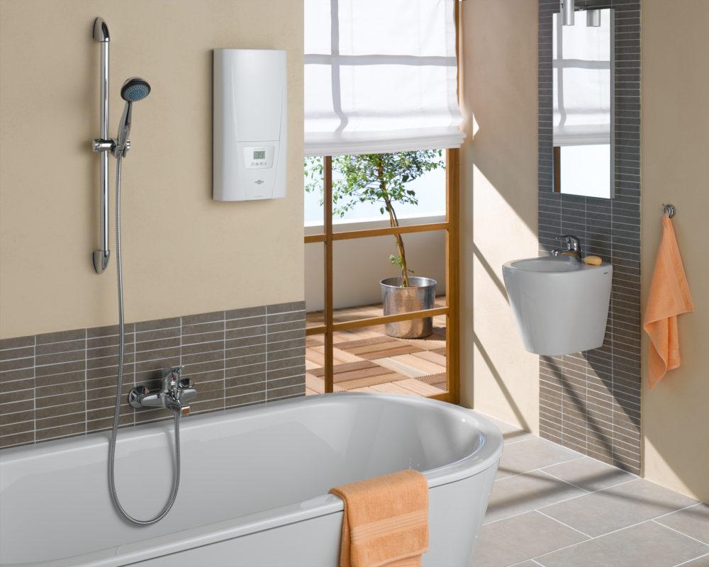 Проточный водонагреватель занимает малый объем и площадь