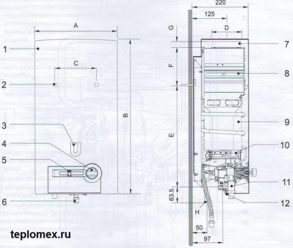 Внутреннее устройство газовой колонки Бош