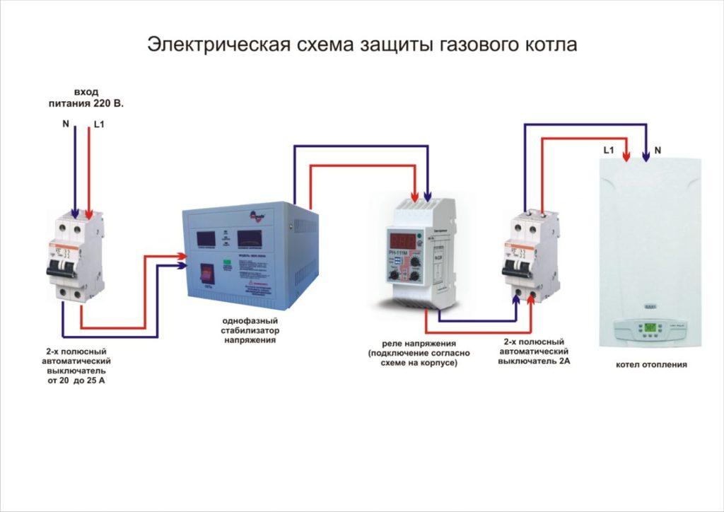 Схема электрической защиты котла от перепадов