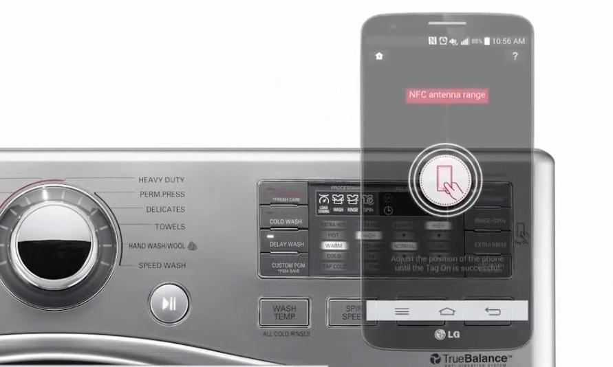 Стиральная машина с модулем NFC