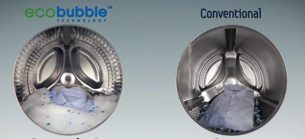 Растворение с технологией Eco bubble и в обычном барабане