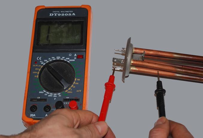 Тестирование исправности ТЭНа мультиметром