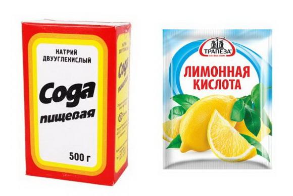 Пищевая сода и лимонная кислота