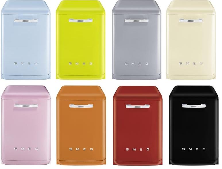 Разноцветные посудомоечные машины бренда SMEG